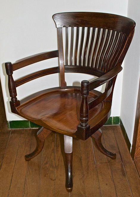 E.W. Godwin Walnut Captains Swivel Chair / Armchair for James Peddle Circa 1881