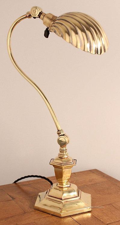 ART NOUVEAU EDWARDIAN BRASS BANKERS/DESK TABLE LAMP - BENSON STYLE