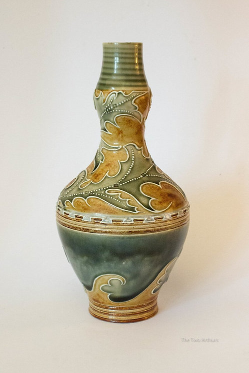 Royal Doulton Lambeth Art Nouveau Stoneware Vase by Mark V Marshall c. 1880 21cm