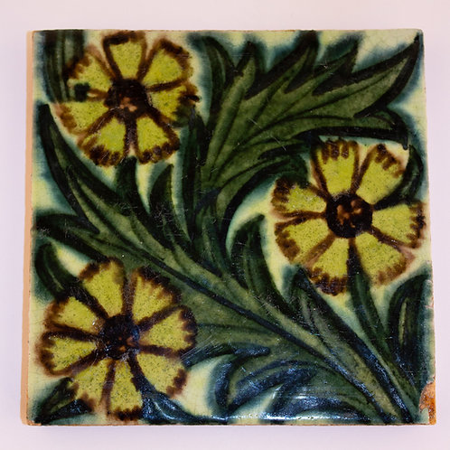 "Original William De Morgan Arts and Crafts Ceramic 5"" Tile"