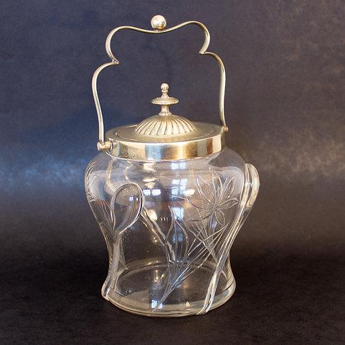 Rare Art Nouveau Stuart glass Cairngorm and cut glass Silver Plated Biscuit Jar