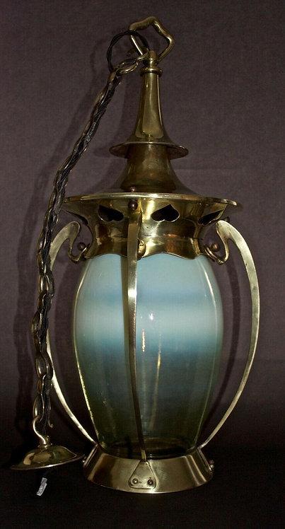 Arts and Crafts Vaseline Glass Brass Hall Lantern/Ceiling Light