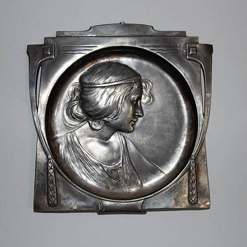 WMF Art Nouveau Wall Plaque with Maidens Face