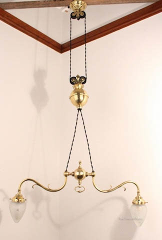 Double Sided Brass Rise & Fall Ceiling Light