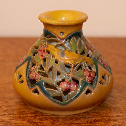 Art Nouveau Zsolnay Pecs Reticulated Lustre Lovebirds Vase