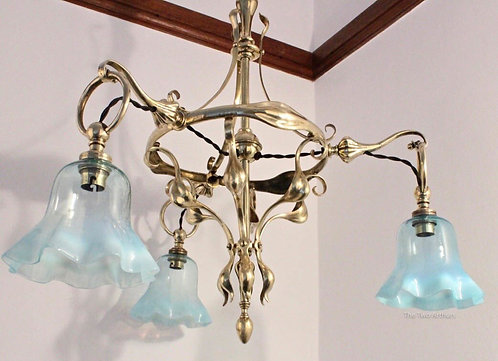 ARTS AND CRAFTS BRASS & VASELINE GLASS CHANDELIER W.A.S. BENSON STYLE