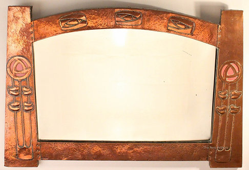 GLASGOW STYLE Antique Arts and Crafts Copper Wall Mirror c. 1900 90.5cm wide.