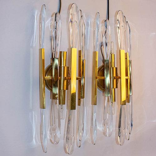 Pair of matching vintage Italian wall lights by Gaetano Sciolari for Stilonovo