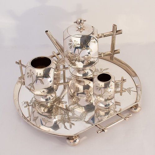 Christopher Dresser Arts and Crafts Anglo Japanese Silvered Tea Service