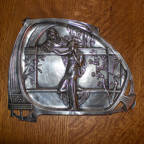WMF Art Nouveau Romeo and Juliet Pewter Wall Plaque