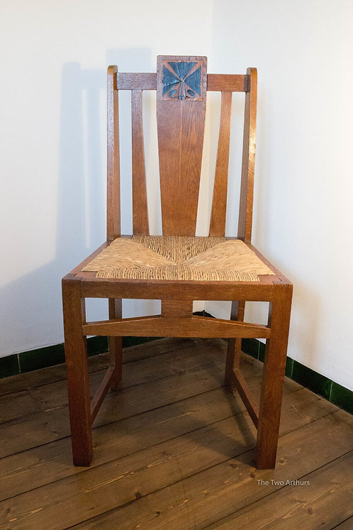E. G. PUNNETT for William Birch Oak Rush-seated Arts and Crafts Side Chair c. 19