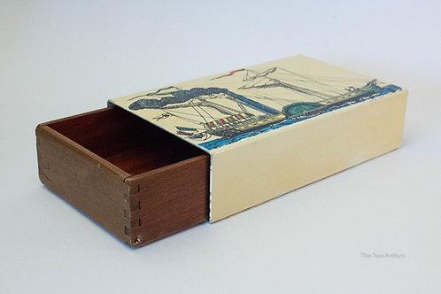 PIERO FORNASETTI Rare Vintage 1950s Italian Milano Enamel & Wooden Jewellery Box