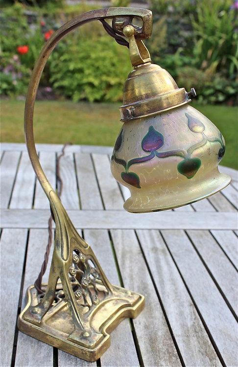 Art Nouveau Loetz Glass Brass Table Lamp - SOLD