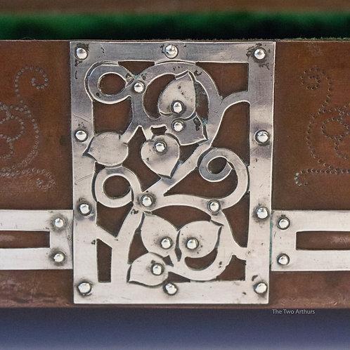 JESSON, BIRKETT & CO Arts and Crafts Silver & Copper Jewellery Box/Casket c.1905