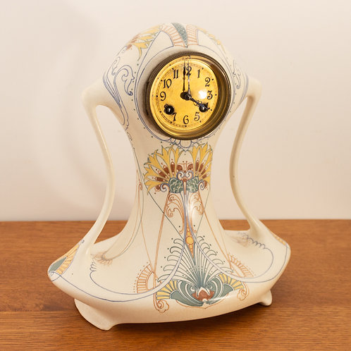 Large Art Nouveau Jugendstil Arnhem Pottery Mantel Clock designed by Klaas Vet