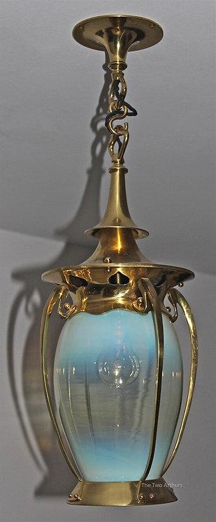 Arts and Crafts Brass & Vaseline Glass Hall Lantern
