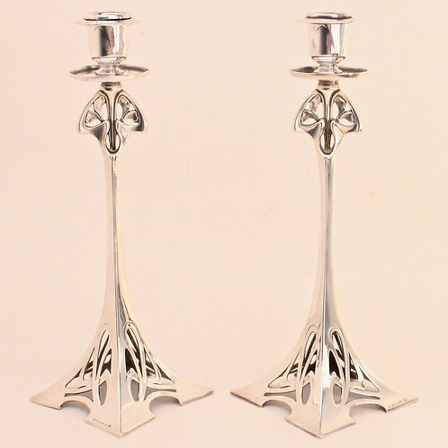 WMF Superb Pair of Art Nouveau Silver Plated Pewter Eiffel Tower Candlesticks