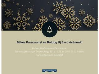 Békés Karácsonyt és Boldog Új Évet Kívánunk!