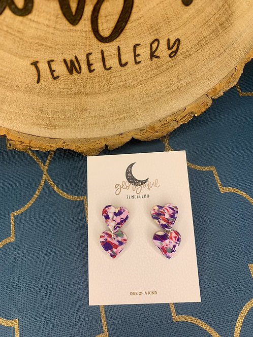 Marble Mix Double heart stud