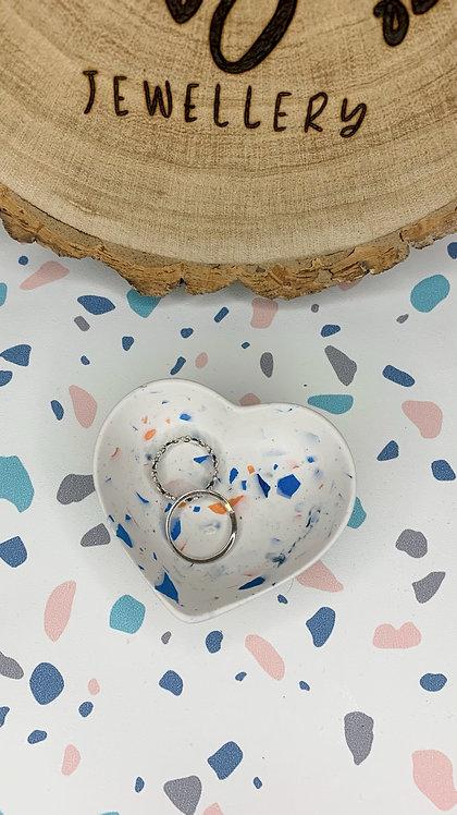 Blue & Orange Terrazzo Heart Trinket