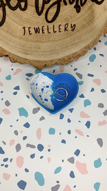 Blue Terrazzo Heart Trinket