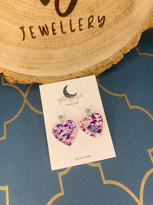 Marble Mix Heart dangle