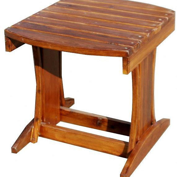 The Garden Fancy Table Is Matched To The Folding Muskoka Chair. Notice The  Curved Top Supports. The Table Top Is Oversized, And Matches The Height Of  The ...