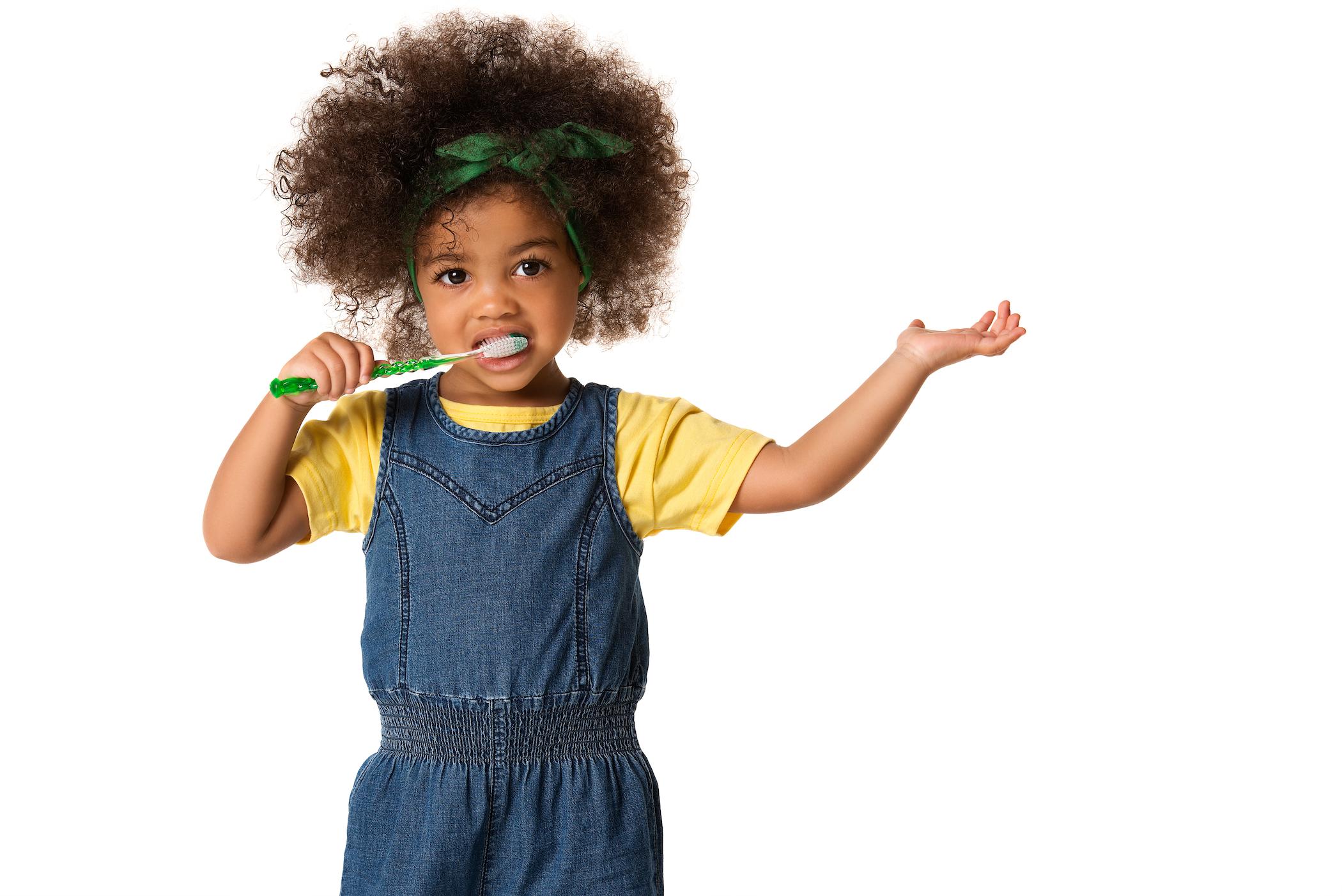 cute child brushing