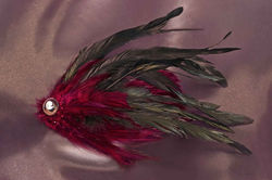 $40 Large Feather Fascinator -Black and Burgundy Available in a Variety of Shape