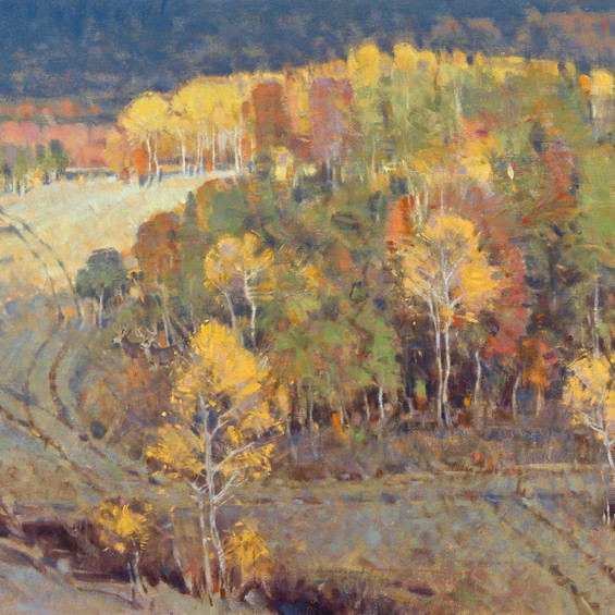 Season of Many Colors--If You Come to a Fork in the Road Take it--20x30 oil on linen (C) J