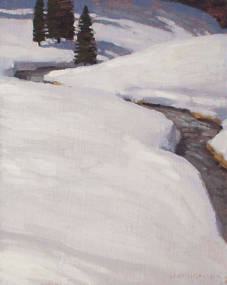 Bright Snow with Stream and Trees, 10x8