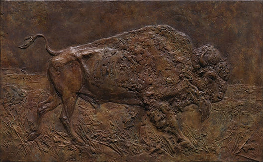 Walter-Matia-Sculpture-Bison-Relief-Bron