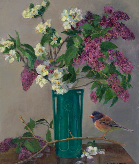 Lilac, Apple Blossoms and Junco