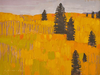 Autumn Aspen Hill with Pine Trees, 6x8 i