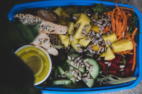 chicken mango rainbow salad (saturday)