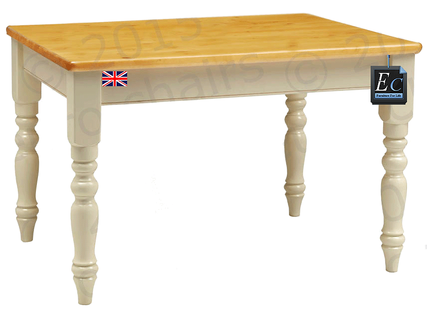 Painted Pine Farmhouse Table: Thick Top: Seats 4 / 6