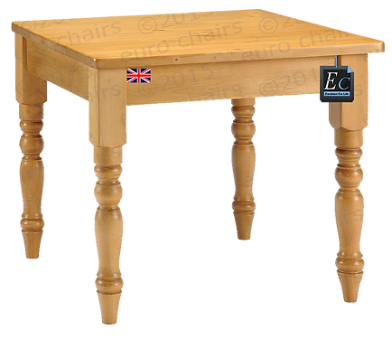 Square Pine Farmhouse Table: Thick Top: Seats 4