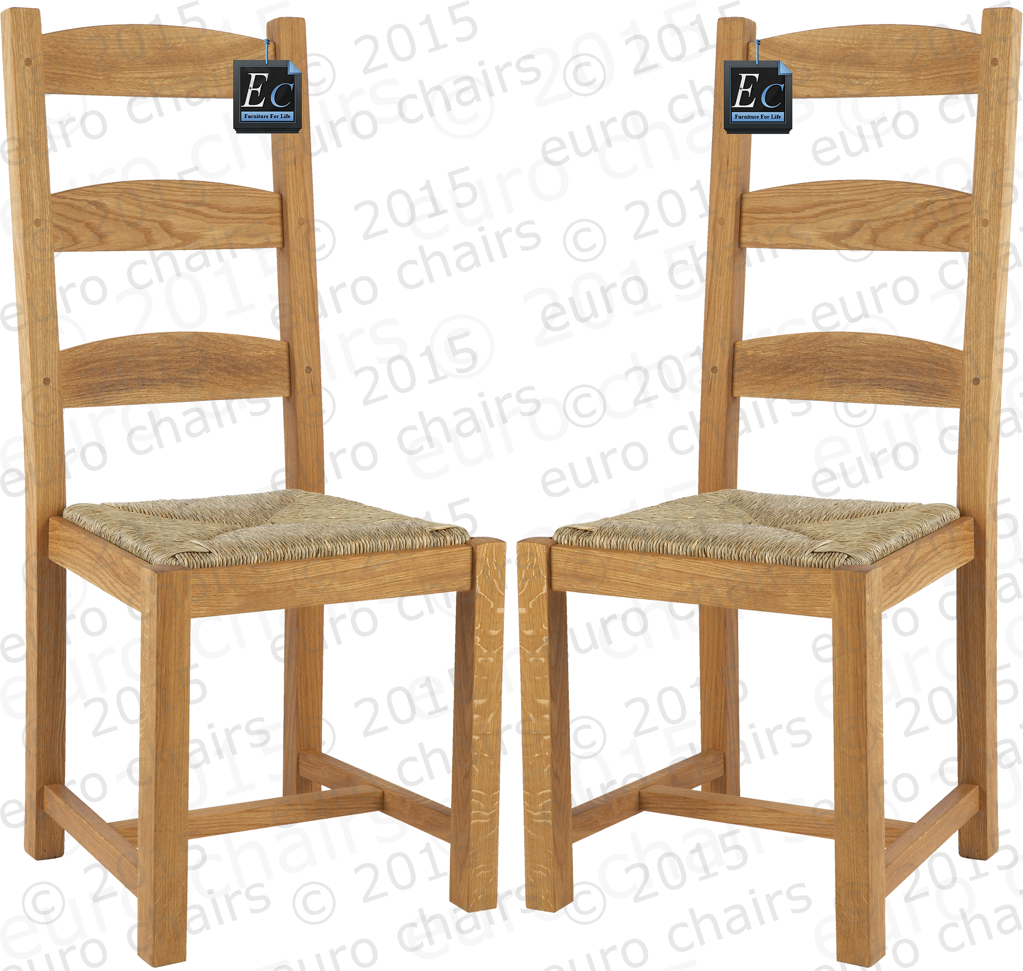 FRENCH COUNTRY LADDERBACK CHAIR: Classic French Country Chair Made In Solid  Oak : Size (cm ) 105h X 45w X 50d: Rush Seat : Traditional French Oak  Design: ...