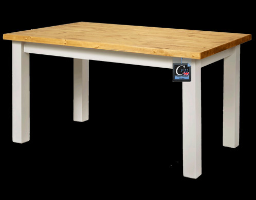 Lovely 5ft X 3ft Painted Pine Farmhouse Table With Square Legs: Thick Top: ...
