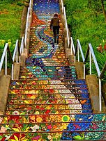walking up colorful steps