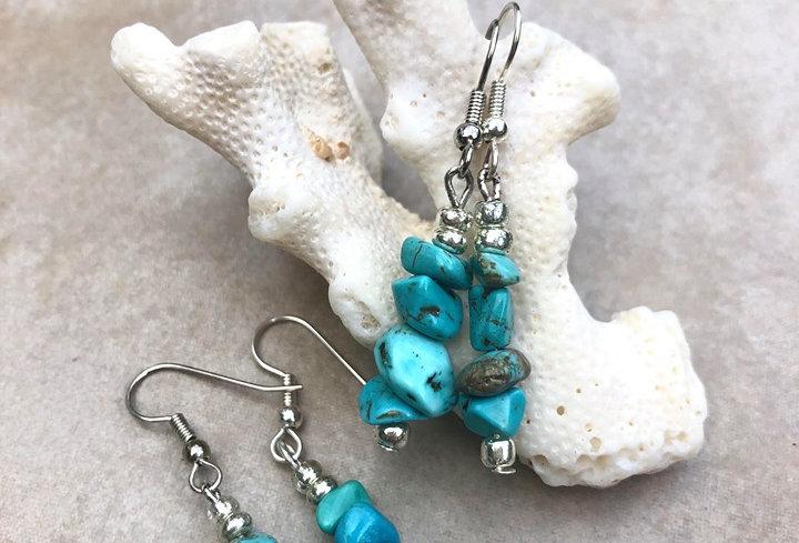 Blue Gemstone Chip Earrings