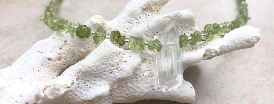 Green Peridot Necklace with Crystal
