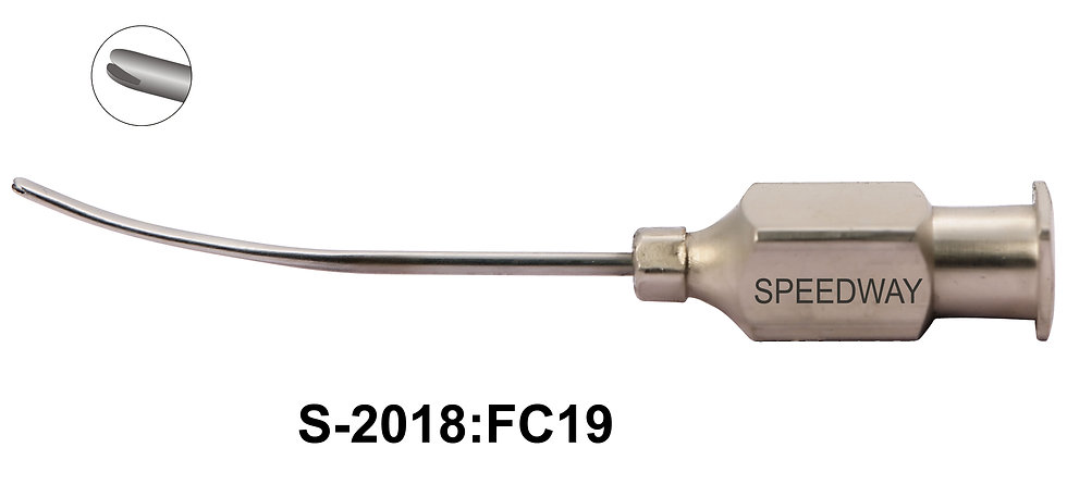 Subtenon Flat Anesthesia Cannula Curved, Flattened Tip 19G