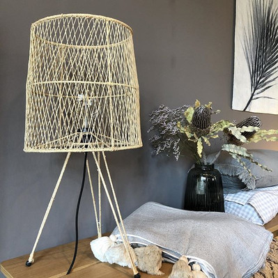 hygge table floor lamp & throw with tass