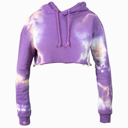 Kpro Tie Dye Cropped Hoodie Woman - Purple Rain