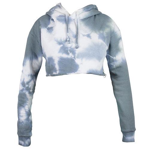 Kpro Tie Dye Cropped Hoodie Woman - Grey Haze