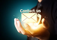 Contact us symbol in businessman hand, E