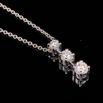 Round diamond three stone pendant in 18k white gold
