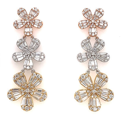 Diamond flower illusion earrings multi colored