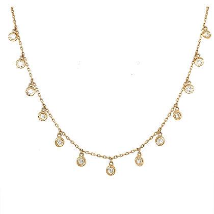 "Bezel set diamond dangle necklace in 14k yellow gold, 18"""